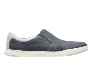 Clarks Mens Step Isle Slip Navy Canvas Shoes